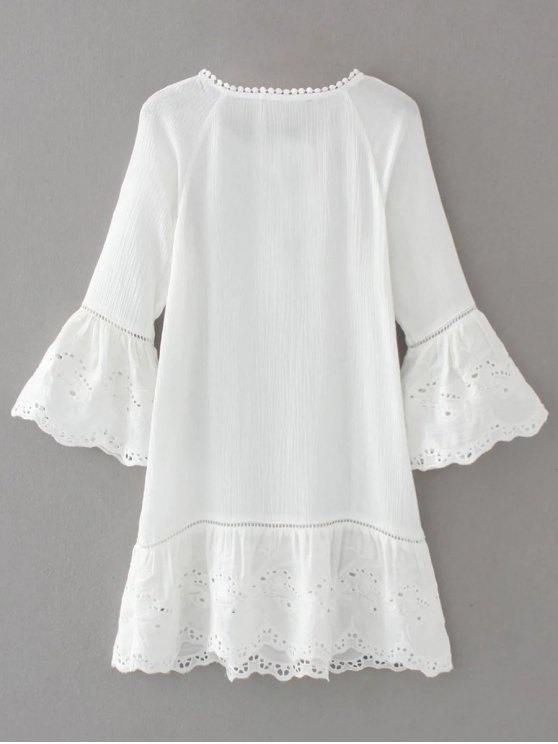 Flare Sleeve Laser Cut Tassels Dress - WHITE L Mobile