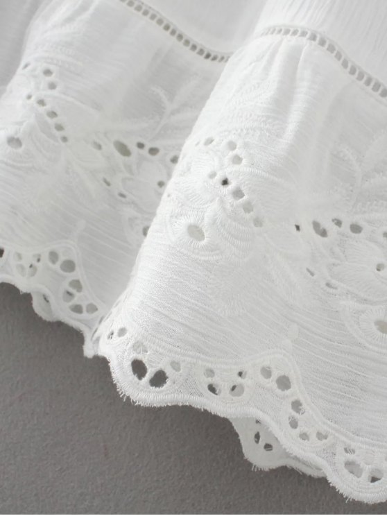 Flare Sleeve Laser Cut Tassels Dress - WHITE L Mobile
