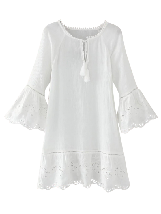 Flare Sleeve Laser Cut Tassels Dress - WHITE M Mobile