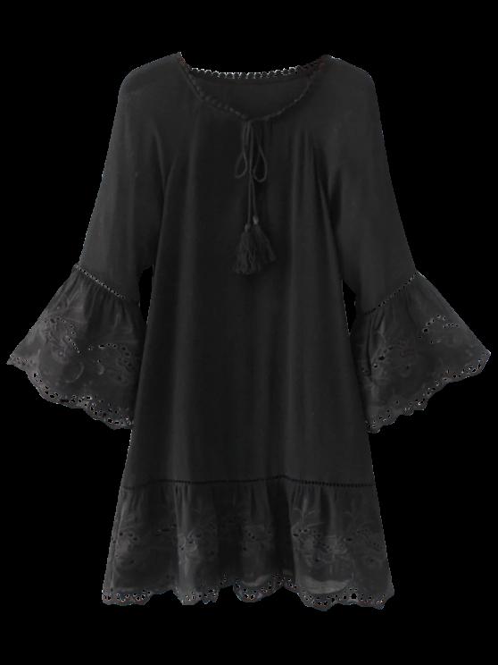 women Flare Sleeve Laser Cut Tassels Dress - BLACK S