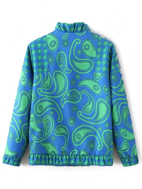 High Neck Paisley Print Jacket - BLUE L Mobile