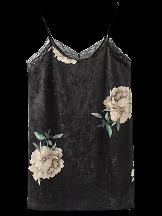 outfits Floral Lace Velvet Slip Dress - BLACK M
