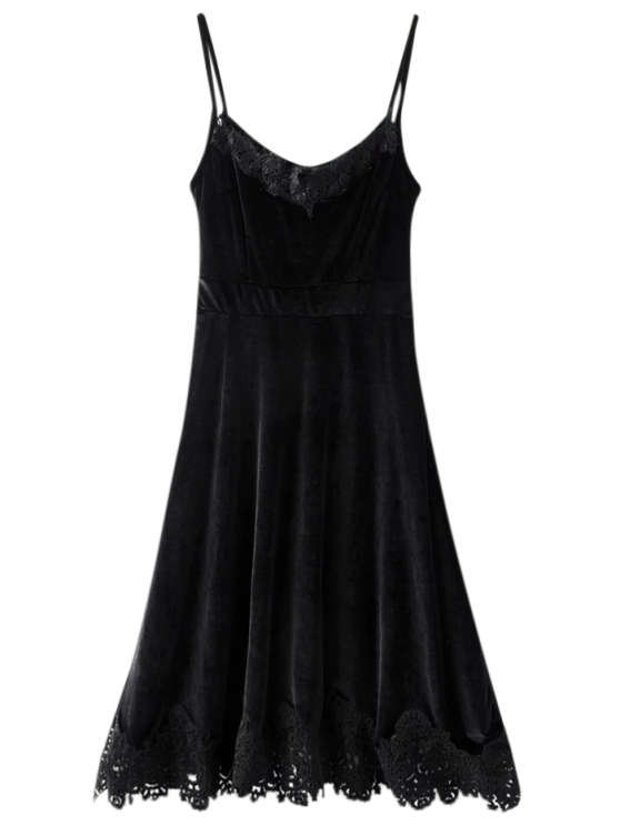 sale Cami Velvet Fit and Flare Dress - BLACK S