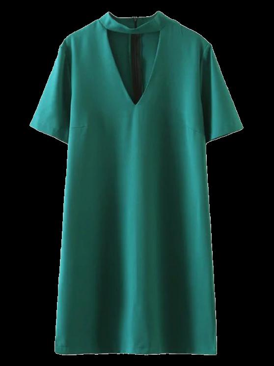 online Short Sleeve Shift Choker Dress - GREEN S