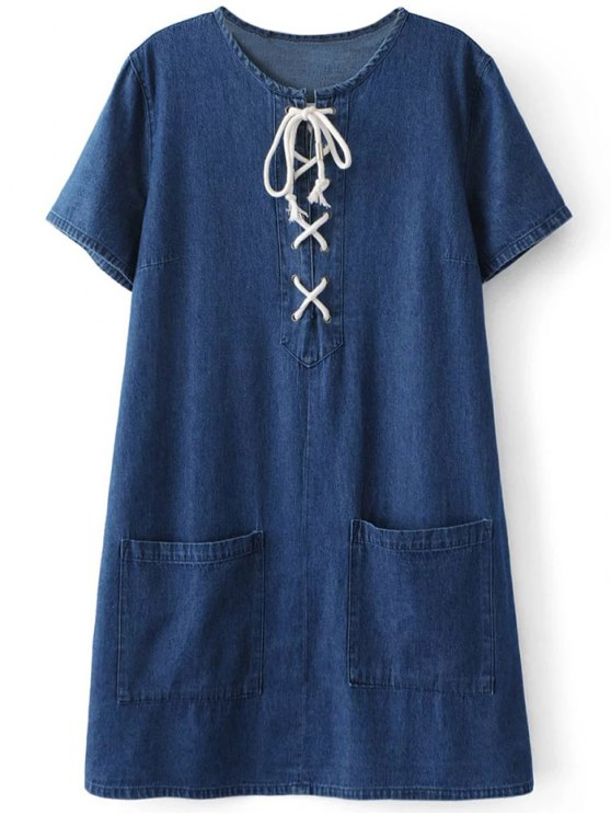trendy Pockets Lace Up Denim Shift Dress - BLUE M