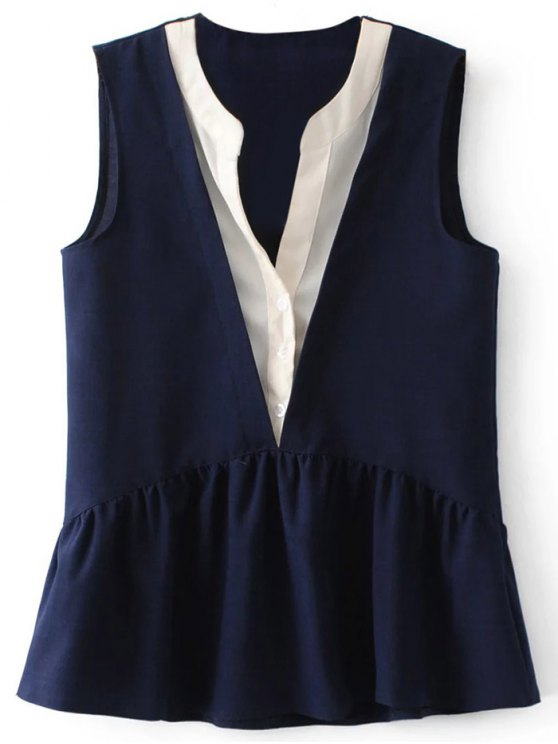 ladies Faux Layered Peplum Tank Top - PURPLISH BLUE S