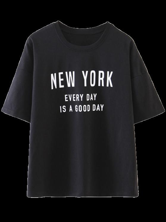 shops Drop Shoulder Letter T-Shirt - BLACK M