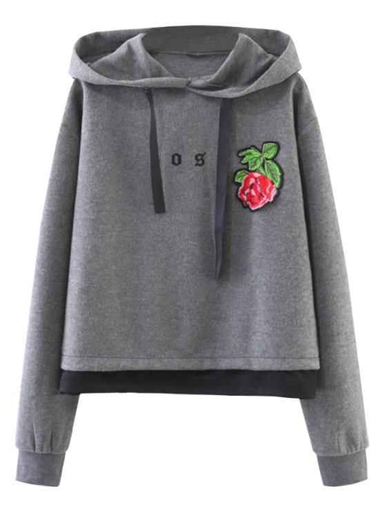 fancy Patched Layered Hoodie - GRAY M