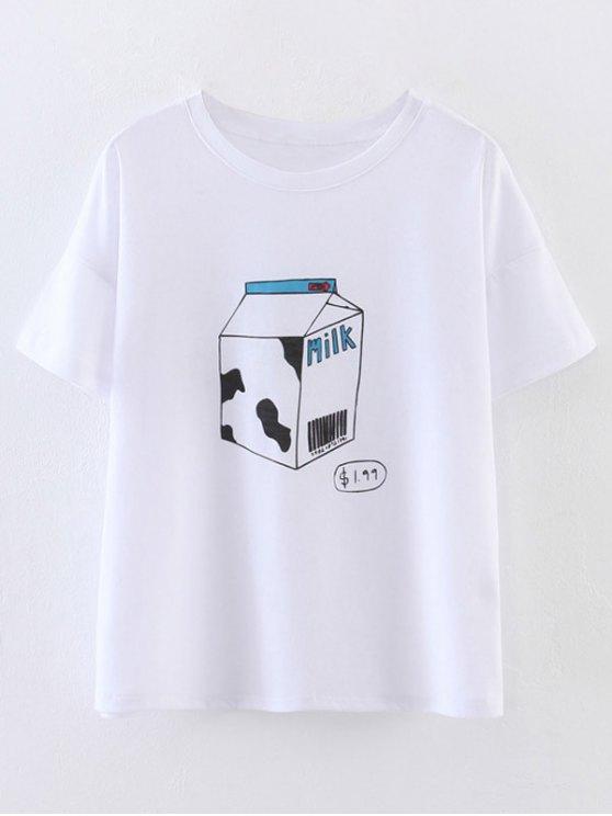 buy Cute Milk Print T-Shirt - WHITE S