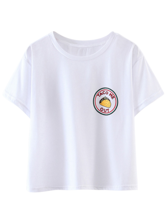 ladies Patched Cropped T-Shirt - WHITE L