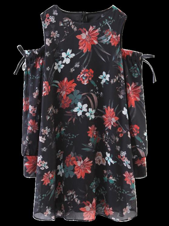 online Floral Off The Shoulder Vintage Dress - BLACK L