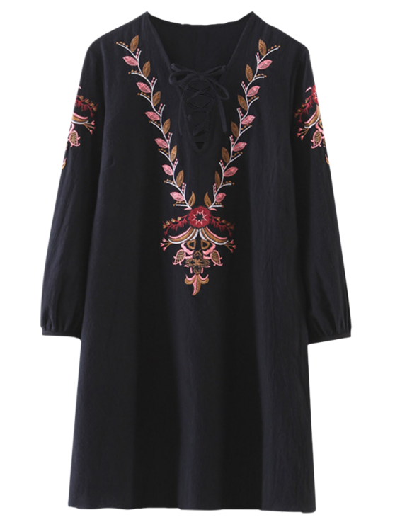 outfit Embroidered Lace-Up A-Line Dress - BLACK L