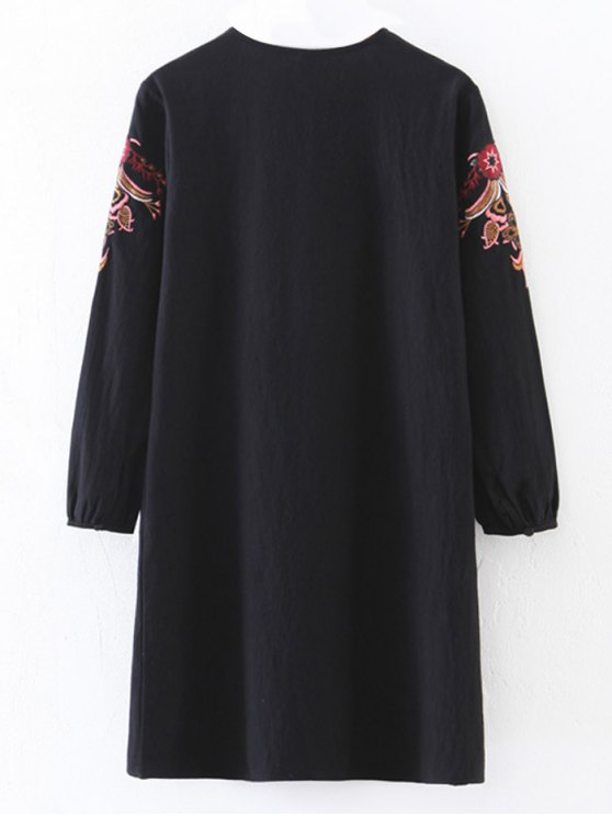 Embroidered Lace-Up A-Line Dress - BLACK S Mobile