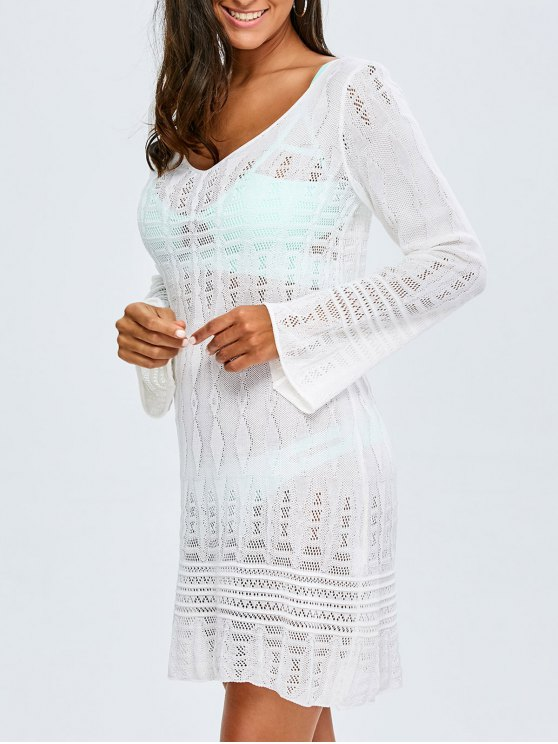fashion Long Sleeve Crochet Cover-Up - WHITE ONE SIZE(FIT SIZE XS TO M)