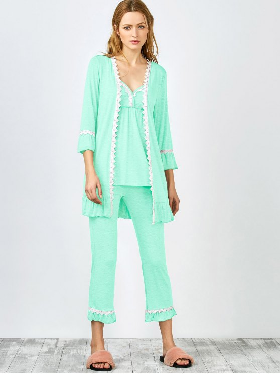 3 Pieces Lace Open Front Sleepwear Suits - LIGHT GREEN XL Mobile