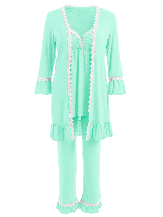 3 Pieces Lace Open Front Sleepwear Suits - LIGHT GREEN L Mobile