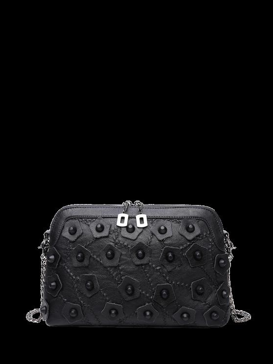 new Rivets Stitching Cross Body Bag - BLACK