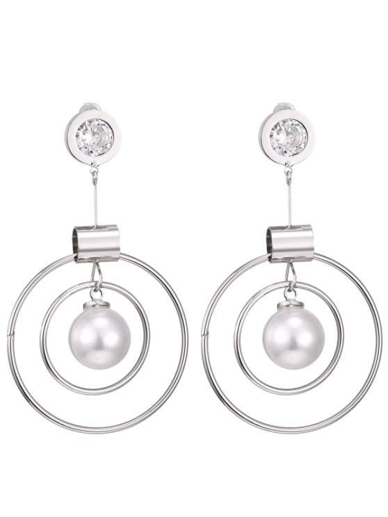 women Faux Pearl Rhinestone Circle Earrings - SILVER