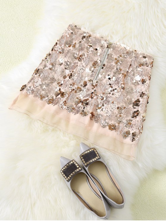 Sequined Voile Panel A-Line Skirt - GOLDEN XL Mobile
