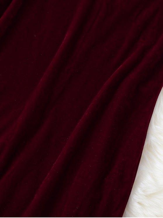 Strappy Velvet Bodycon Slip Dress - BURGUNDY L Mobile