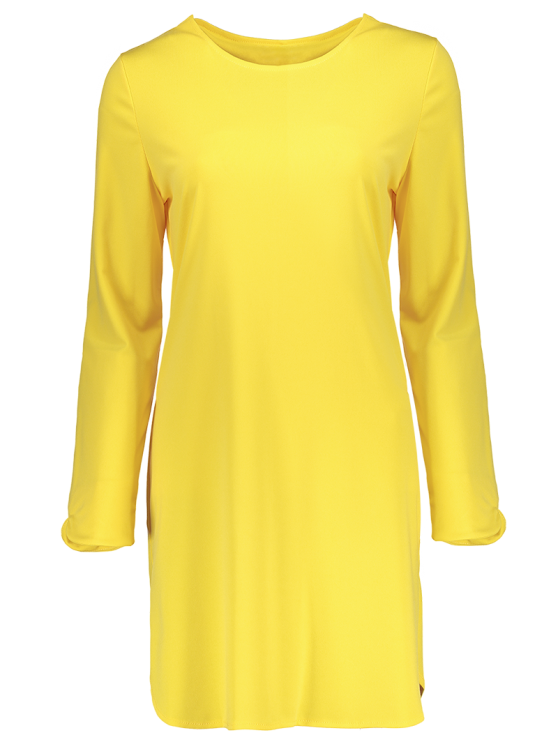 Long Sleeve Hollow Back Yellow Dress - YELLOW M Mobile