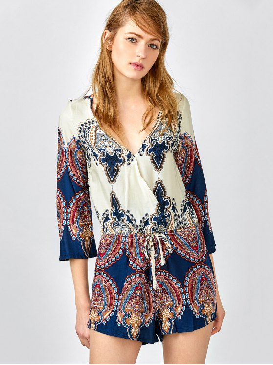 Plunging Neck Color Block Abstract Print Romper - COLORMIX S Mobile