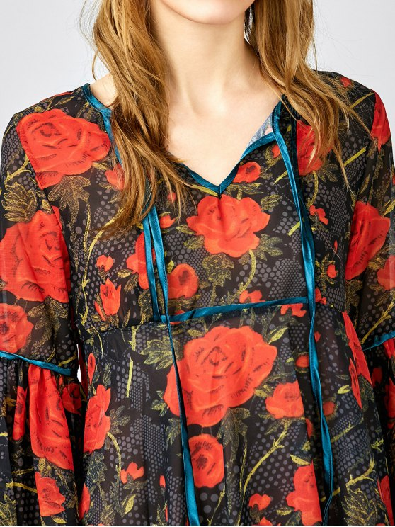 Red Floral 3/4 Sleeve Blouse - RED XS Mobile