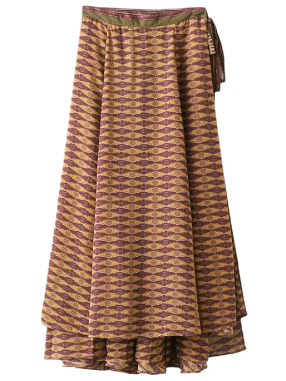 latest Printed Wrap Maxi Skirt - CURRY L