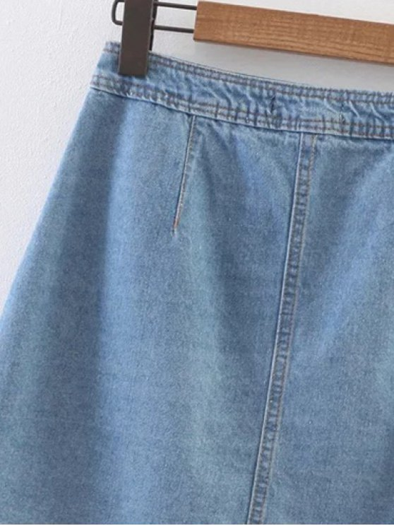 Embroidered Single-Breasted Denim Skirt - LIGHT BLUE S Mobile