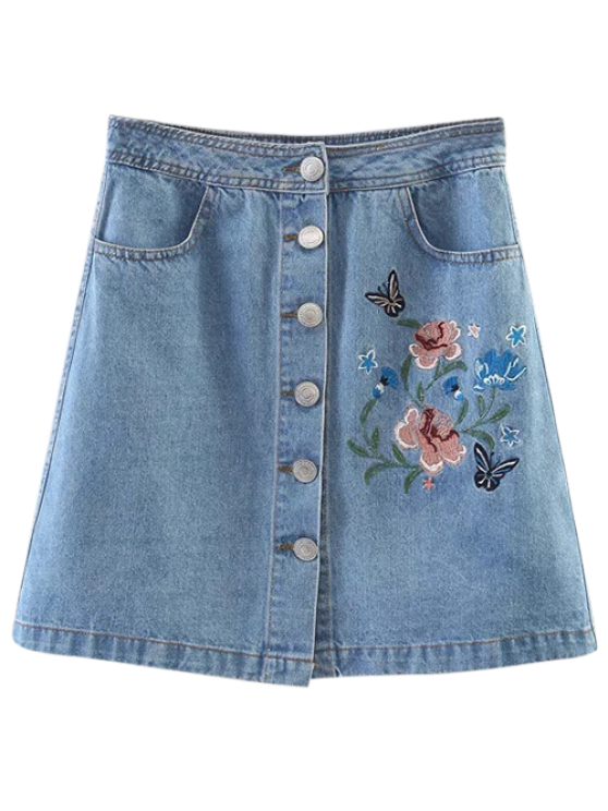 new Embroidered Single-Breasted Denim Skirt - LIGHT BLUE S