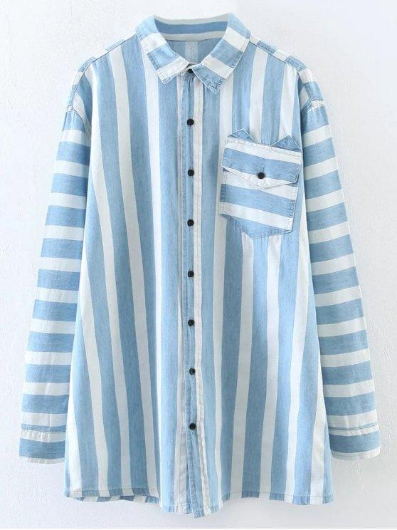 sale Loose Stripe Shirt - LIGHT BLUE L