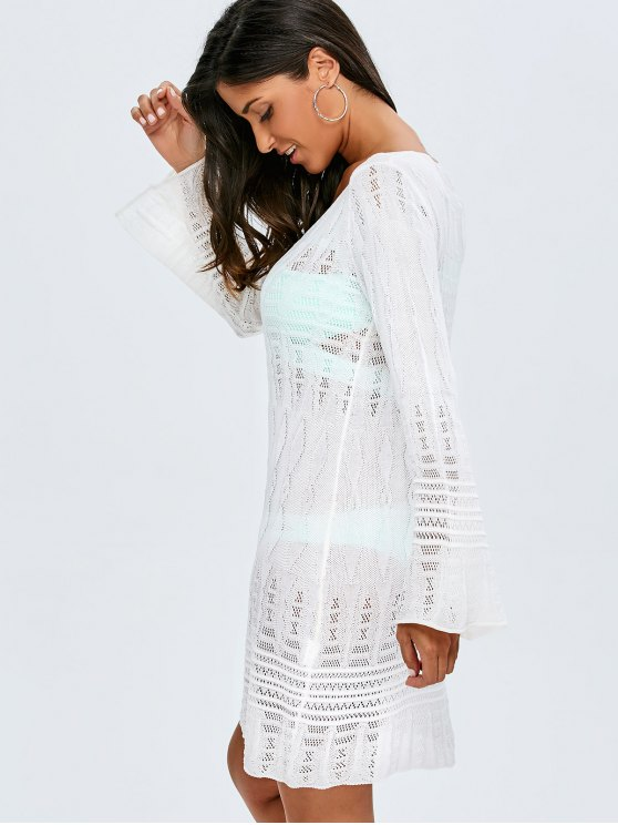 Long Sleeve Crochet Cover-Up - WHITE ONE SIZE(FIT SIZE XS TO M) Mobile