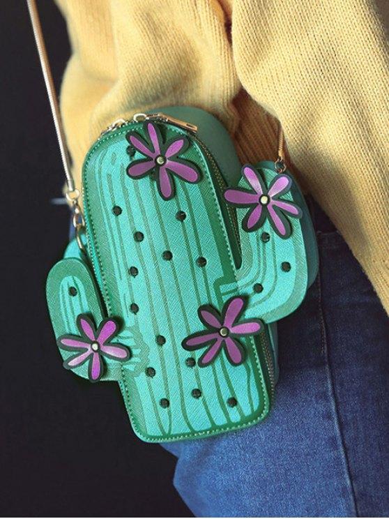 Funny Cactus Shaped Crossbody Bag - GREEN  Mobile