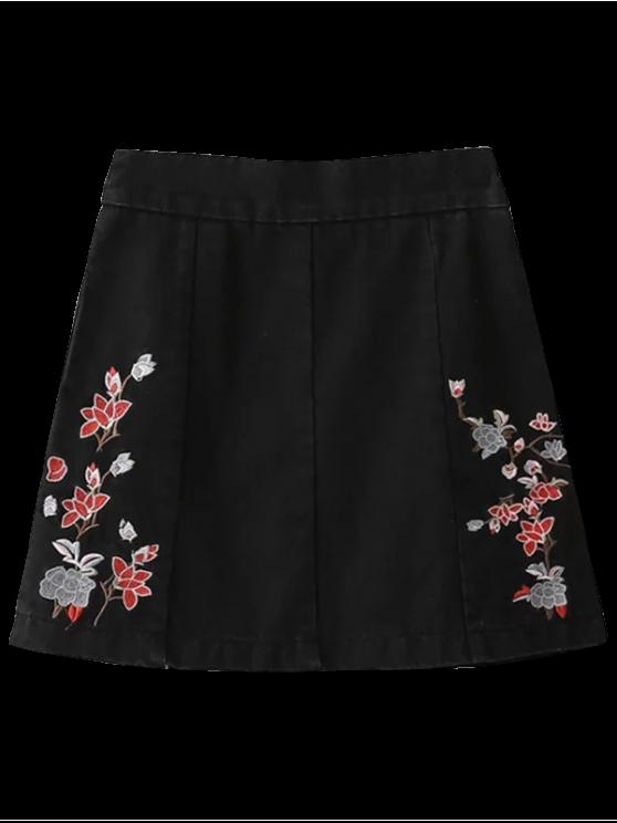 Cremallera de la falda del dril de algodón floral - Negro S