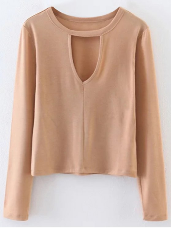 outfits Keyhole Layering Top - LIGHT KHAKI L