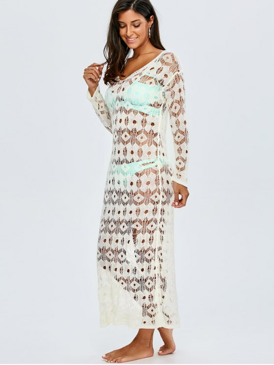 Crochet Maxi Cover Up For Swimwears - WHITE ONE SIZE(FIT SIZE XS TO M) Mobile