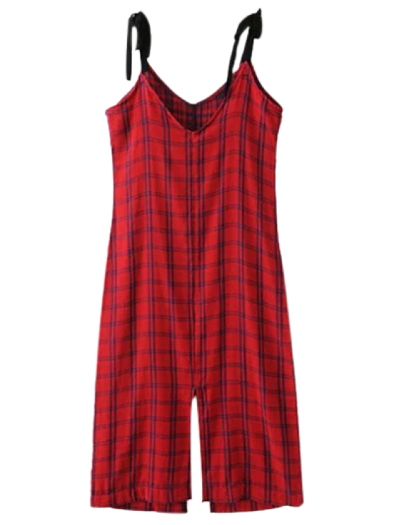 women Slit Checked Pinafore Dress - RED S
