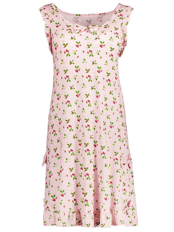 Bowknot Frilled Sleep Dress - PINK L Mobile