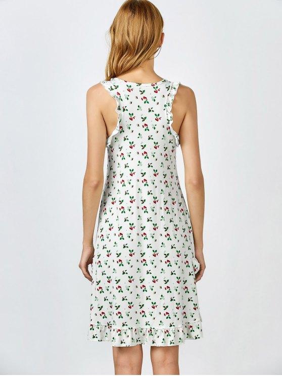 Bowknot Frilled Sleep Dress - WHITE GREY L Mobile