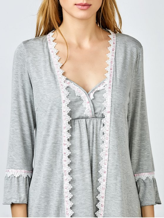 3 Pieces Lace Open Front Sleepwear Suits - GRAY XL Mobile