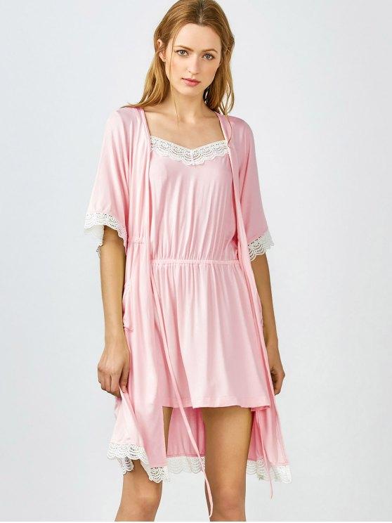 Lace Trim Cami Sleepwear with Kimono - SHALLOW PINK M Mobile