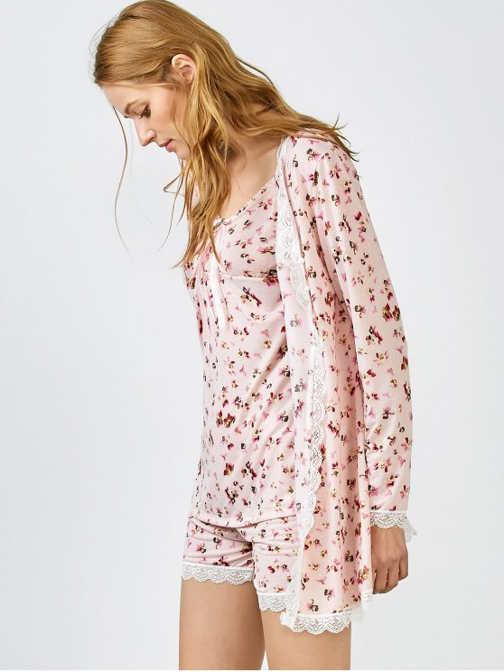 Chemise Slip Dress and Shorts and Sleep Robe - PINK M Mobile