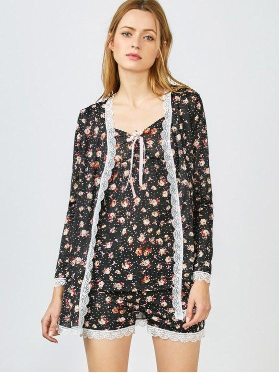 Chemise Slip Dress and Shorts and Sleep Robe - BLACK XL Mobile