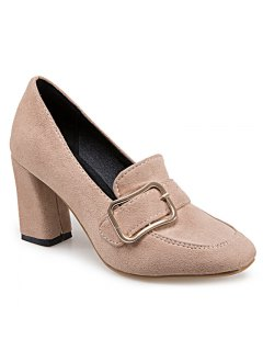 Block Heel Square Toe Pumps - Apricot 38