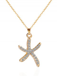 Rhinestone Starfish Shape Pendant Necklace - Golden