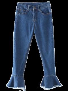 Frayed Hem Bell Bottom Jeans - Denim Blue S