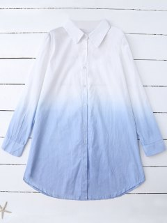 Ombre Color Oversized Shirt - Blue M