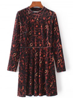 Velvet Camouflage Long Sleeve Dress - Brown L
