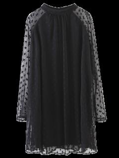 Mini Robe En Voile Brodé Panneau - Noir S