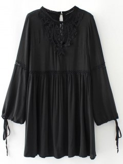 Laser Cut Smock Dress - Black S
